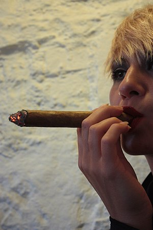 Cigar - Model Eve Casini smoking a cigar