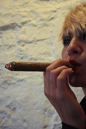 Cigar - Model Eve Casini smoking a cigar