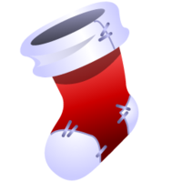 Animated depiction of a red-and-white Christmas stocking
