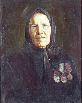 Soldatov S.V. 1901 - 1973. Portrait of F.I.Bezzubova. 1940s. Canvas, oil. 50х40.jpg