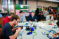 Solder workshop at FIXME Hackerspace, Renens, Lausanne (2015-05-23 06.26.23 by Mitch Altman).jpg