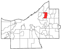 Location of South Euclid in Cuyahoga County
