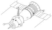 Soyuz 7K-OK(A) spacecraft with an active docking unit.