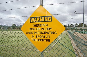Sports injury warning sign. Funny though, sinc...