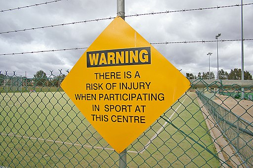 Sport injury warning sign