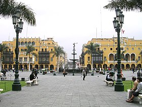 Top: Lima skyline, Middle: Plaza Mayor de Lima, Bottom left: Cathedral of Lima, Bottom right: Palace of Justice.