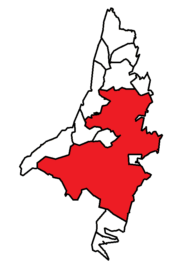 St John's (red), in relation to nearby communities.