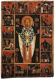 Икона Святой Николай Чудотворец с ...: ru.wikipedia.org/wiki/Клеймо_(иконопись)