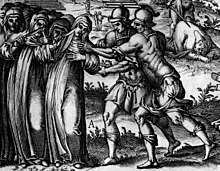 Illustration of warriors pursuing mutilated nuns