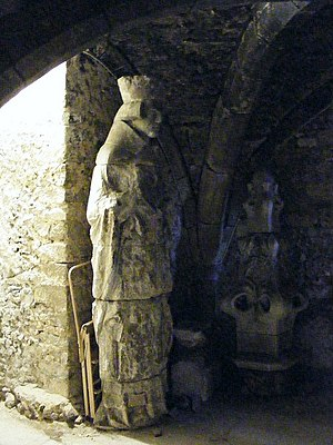 Swithun - Statue of St. Swithun originally on the façade of Winchester Cathedral; now housed in the Crypt.