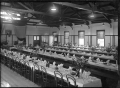 Staff dining room at the Hutt Railway Workshops, with tables set for a function ATLIB 311620.png