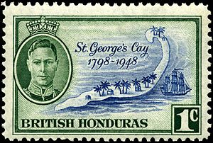 Vignette (philately) - The central pictorial vignette on this 1948 stamp of British Honduras is in blue. The frame is green.