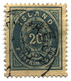 Postage stamps and postal history of Iceland - 20 aurar, 1882 (used at Vopnafjörður?)