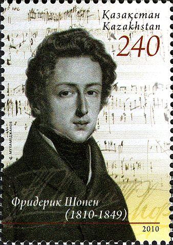 Шопен на почтовой марке Казахстана, 2010