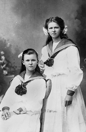 Sailor dress - Two girls in sailor dresses, ca. 1910