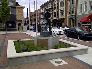Early life and career of Abraham Lincoln - Statue of 21-year-old Abraham Lincoln in downtown Decatur, Illinois, on the site of his first political speech.
