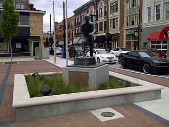 "Decatur, Illinois - Statue of Abraham Lincoln in downtown Decatur on the site of his first political speech. The plaque reads ""Abraham Lincoln's first political speech: Lincoln mounted a stump by Harrell's Tavern facing this square and defended the Illinois Whig party candidates near this spot at age 21 in the summer of 1830"""