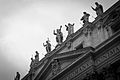 Statues on the facade of Saint Peter's Basilica in Black and White.jpg
