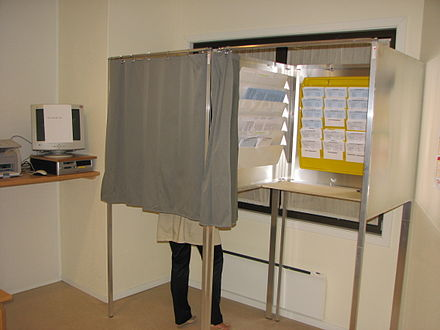 An election booth at the event of municipal and county voting, 2007. Stemmeavlukket.jpg