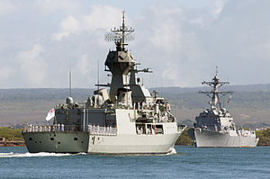Stern view of HMAS Perth entering Pearl Harbor in June 2012.jpg