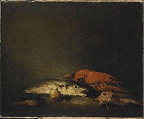 Stilleven met vissen en een kreeft