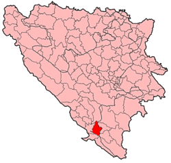 Location of Stolac Municipality within Bosnia and Herzegovina.