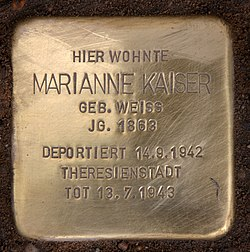 Photo of Marianne Marie Kaiser brass plaque