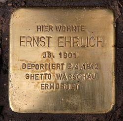 Photo of Ernst Ehrlich brass plaque