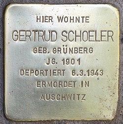 Photo of Gertrud Schoeler brass plaque