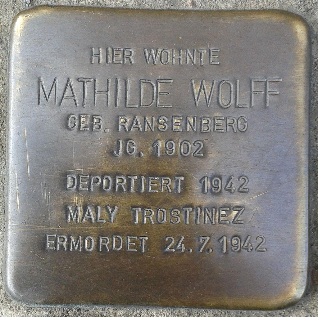 Stolperstein Hennef Bonner Straße 69 Mathilde Wolff geborene Ransenberg