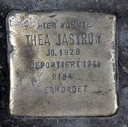 Photo of Thea Jastrow brass plaque