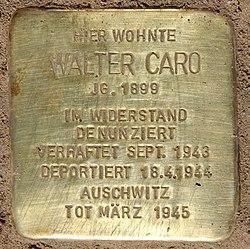 Photo of Walter Caro brass plaque
