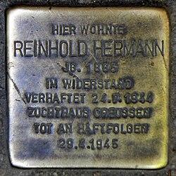 Photo of Reinhold Hermann brass plaque