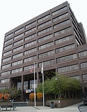 A brown 10 story office building, headquarters building of Stop & Shop supermarket chain in Quincy Center
