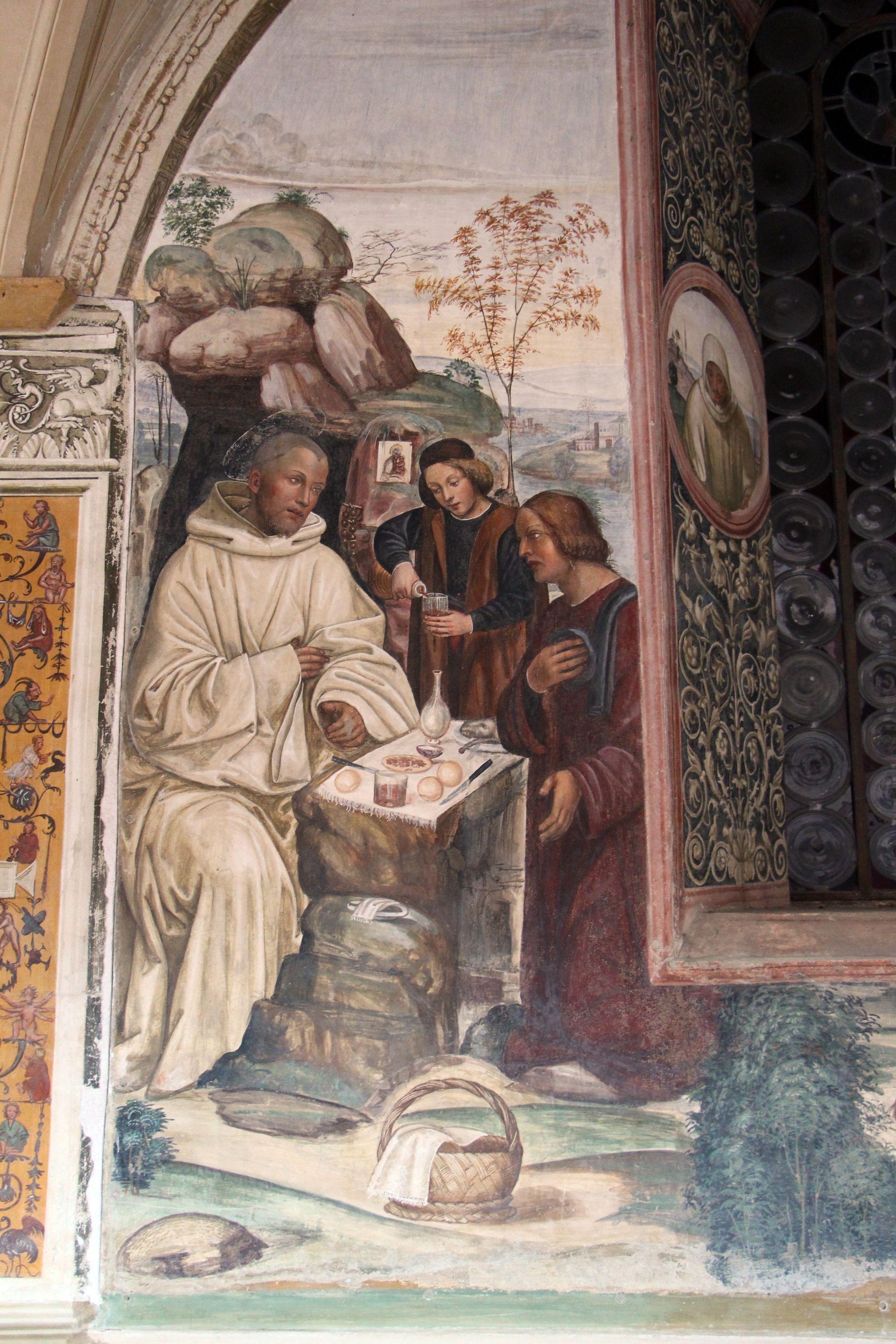 Storie di s. benedetto, 06 sodoma - Come uno prete ispirato da dio porta da mangiare a Benedetto nel giorno di pasqua 02