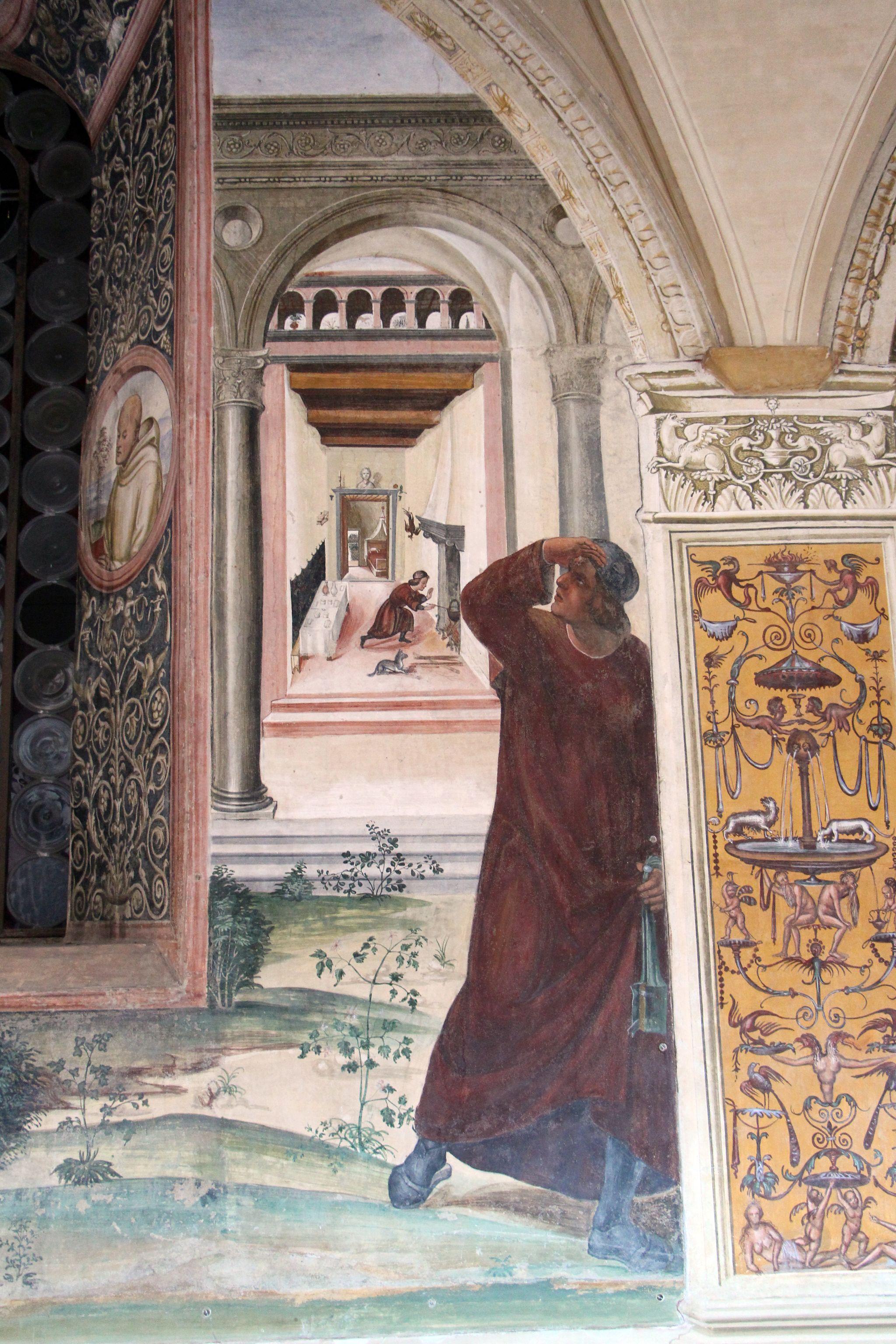 Storie di s. benedetto, 06 sodoma - Come uno prete ispirato da dio porta da mangiare a Benedetto nel giorno di pasqua 06
