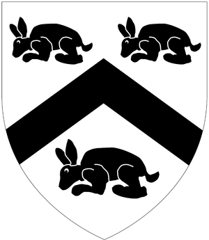 William Strode - Arms of Strode: Argent, a chevron between three conies courant sable