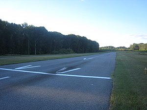 Suburban Airport - New threshold in foreground, looking toward the old threshold