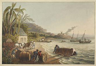 "Hogshead - ""Sugar hogsheads"" from Ten Views in the Island of Antigua, W. Clark, 1823, plate X."
