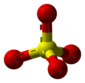 Ball-and-stick model of the sulfate anion