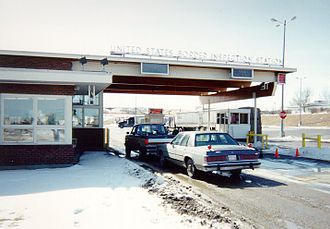Sweetgrass–Coutts Border Crossing - US Border Inspection Station at Sweetgrass, Montana, as seen in 1997