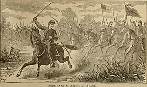 "Battle of Aldie - ""Sergeant Glazier at the Aldie"" as depicted in Sword and pen - or, Ventures and adventures of Willard Glazier in war and literature (1890) by John Algernon Owens"