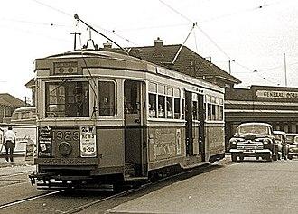 Sydenham, New South Wales - R class tram no 1923 at Sydenham railway station, 20 November 1954. Trams in Sydney services.