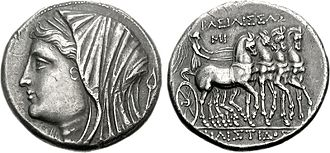 Sicilia (Roman province) - Philistis, wife of Hiero II, on a tetradrachm minted between 218 and 214 BC