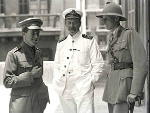 Arab Bureau - Lieutenant-Colonel Thomas Edward Lawrence (1888 - 1935, left); D.G. Hogarth (1862 - 1927) and Lieutenant-Colonel Dawnay, at the Arab Bureau of Britain's Foreign Office, Cairo, May 1918.