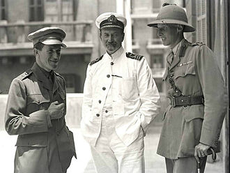 David George Hogarth - Hogarth (centre), with T. E. Lawrence (left) and Lt Col. Dawnay at the Arab Bureau, Cairo, May 1918
