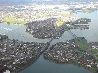 "Pakuranga - Pakuranga, looking east (the suburb is the ""peninsula""-shape on the far side of the Tamaki River)"