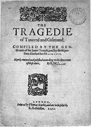 Tancred and Gismund - Title page of the second edition of The Tragedie of Tancred and Gismund, published in 1592.