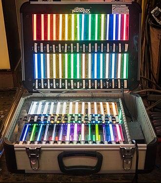 Neon lighting - Display of neon lighting samples in a glass studio