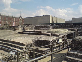 Historic center of Mexico City - A view of the ruins of the Templo Mayor with museum in background